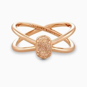Emilie Rose Gold Double Band Ring In Sand Drusy Size 7 NEW